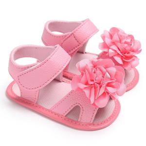 여름 달콤한 아기 소녀 공주 스타일 귀여운 꽃 침대 유아 유아 소프트 솔 워드 샌들