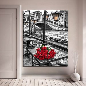 DIY Painting By Numbers Street Rose Flower Modern Wall Art Picture Hand Painted Oil Painting For Living Room Artwork