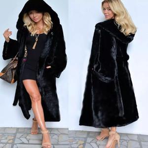 새로운 세련된 검은 가짜 모피 코트 긴 섹션 후드 겨울 코트 여성의 의복 두꺼운 따뜻한 P004