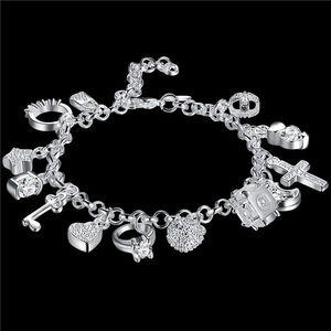 Düğün Hediyeleri! 13 Parantez 925 Gümüş Bilezik JSPB144, Canavar Hediye Erkekler Ve Kadınlar Gümüş Kaplama Charm Bilezikler