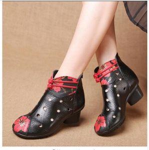 Весна лето винтажный стиль натуральная кожа женщины сапоги средний каблуки пинетки мягкие коровьей Женская обувь зима Zip ботильоны Zapatos Mujer