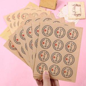120 PCS / pack Merci autocollants auto-adhésifs en papier kraft pour journal journal livre scrapbook fait à la main cadeau enfant papeterie autocollants