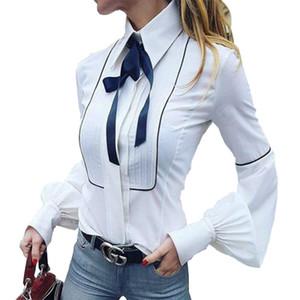 Pajarita Blusas Mujer Linterna Manga Camisas Top Button Camisas Blancas Mujer Elegante Oficina Top Sexy Club Camisa Party Blusas GV159
