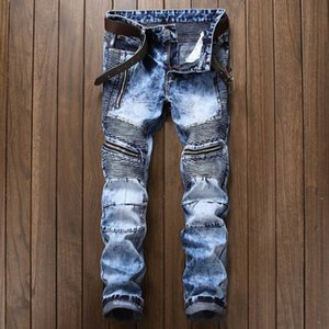 Herren Plissee Biker Jeans Hose Slim Fit Markendesigner Motorrad Denim Hose für Herren Straight Washed Multi Zipper