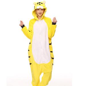Взрослый фланель Kigurumi желтый Тигр животных пижамы унисекс Onesie костюм для Хэллоуина карнавал Новый год партия