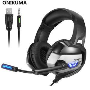 ONIKUMA K5 أفضل سماعات الألعاب ألعاب Casque Deep Bass Gaming Headphones لأجهزة الكمبيوتر المحمول PS4 الكمبيوتر المحمول مع ميكروفون LED
