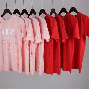 Camisa de las mujeres de Sumer T Shirt Womens manga corta G Fashion Hole Shirt letra impresa cuello redondo Tops Tees wholesale