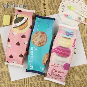 1 STÜCK Kawaii Kreative Macaron Schule Federmäppchen Für Mädchen Chocolate Cracker Pu-leder Bleistiftbeutel Kinder Geschenk Schulbedarf