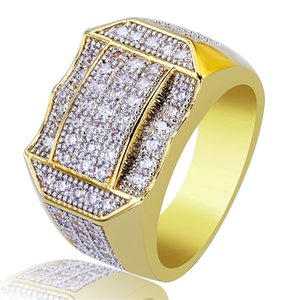 Hip Hop Copper Gold Color Plated Micro Paved Full Zircon Charm Finger Gold Rings Bling Jewelry for Men&Women