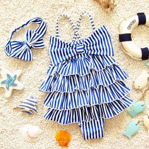 Banyo çocuk Mayo Bandı Şerit Bebek Kız Mayo Plaj Kıyafetleri Tek parça Bebek Kek Katmanlı Mayo Çapraz Omuz