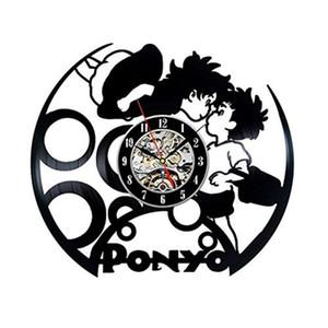 Bande dessinée japonaise Nouvel An Miyazaki Pony vinyle Horloge murale Creative décor à la maison moderne Room Art Clock (Taille: 12 pouces, Couleur: noir)