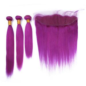 Estensioni diritte di 3 bundles di colore viola con l'orecchio all'orecchio Frontal 13x4 di trecce diritte dei capelli umani con la chiusura frontale di colore viola del pizzo