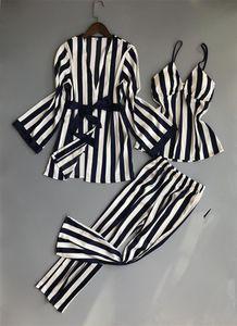 Lisacmvpnel 3 pezzi pigiama sexy a righe da donna Set Camicia da notte + Robe + Pant Pigiama donna