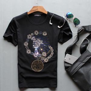 Горячие продажи продажа O-образным вырезом мужчины роскошные Алмазный дизайн мода футболки забавный бренд хлопок топы и тройники