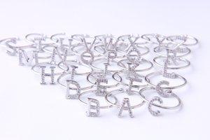 2018 moda neutral plata acero inoxidable último modelo 26 letras a-z anillo ajustable