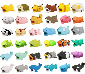 Hot Cable Bite 36styles animal bite cable Protector Accessory toy cable bites dog pig elephant axolotl for iPhone smartphone Charger Cord