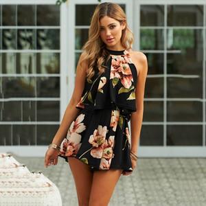 Sexy Frauen-Sommer-beiläufige getäfelte Blume druckte Halter-Sleeveless kurze Overalls Strampler-Verein-Klage