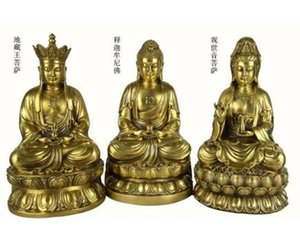 Cina Rame ottone Tre santi dell'ovest GuanYin Jizo King Buddha Statue Set