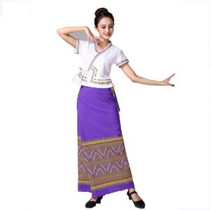 Thaïlande de style traditionnel festival usure élégante robe d'été des femmes vêtements de danse vêtements de scène Thaïlande dame costume ethnique vestido Asie