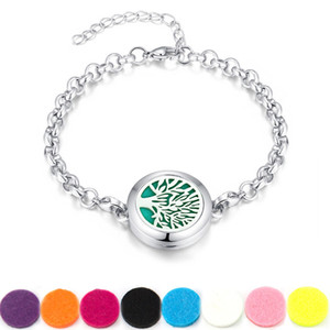 Tree of life Locket Bracelet (25mm) Aromatherapy   Essential Oil surgical Stainless Steel Diffuser Locket bracelet 7.5'' wrist