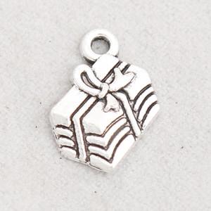 Aleación de plata antigua plateada caja de regalo encantos de metal regalo de Navidad caja colgante encantos 12 * 17 mm AAC1688