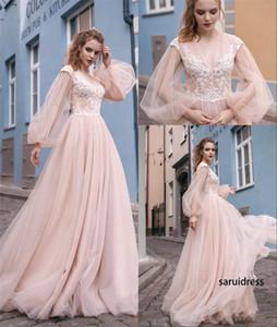 Ropa de manga larga con cuello en V Niveles de tul celebridad del vestido de árabe africano Prom Party New Blush rosa vestidos de noche