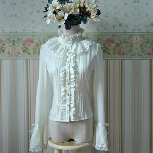 Japanese Style Spring and Summer LOLITA Shirt White Long Sleeve Chiffon Lace Bow With Tie Gothic Women Blouse