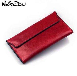 NIGEDU натуральная кожа женщины кошелек длинный тонкий кошелек коровья кожа несколько карт держатель клатч мода стандартный кошелек