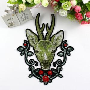 사슴 헤드 재봉 수 놓은 패치 바느질 동물 Applique 배지 의류 패치 스티커 의류 재봉 액세서리