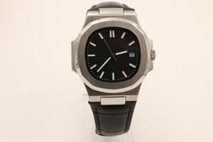 Горячие продажи черный циферблат 5711 1A-010 мужские часы с автоподзаводом механизм из нержавеющей стали мужчины Nautilus PP прозрачный Кожаный ремешок человек часы