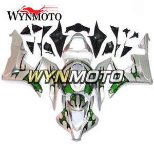 Full Fairings CBR600RR 2007-2008 F5 Motocicletas Juego de carenado de plástico ABS para Honda CBR600RR F5 2007 2008 Carenados plateados con llamas verdes