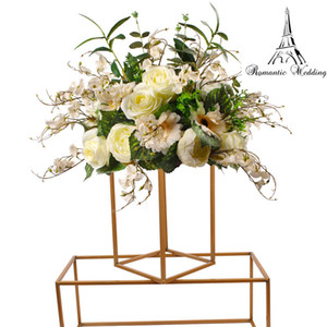 New Style Wedding Metal Gold Color Flower Stand for Wedding Centerpiece Decoration 40cm wide 1m tall 1m long 10pcs A Set
