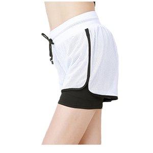2 em 1 mulher verão yoga shorts de malha respirável ladie menina calças curtas para o esporte atlético roupas de fitness