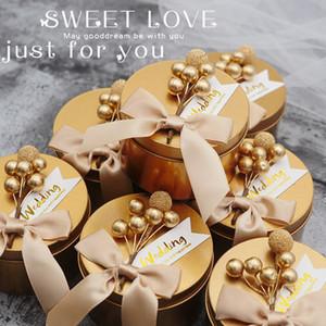 Boda caja de dulces Círculo dorado caja de hierro plato de hojalata Estilo europeo azucarero Caja de dulces personalizada