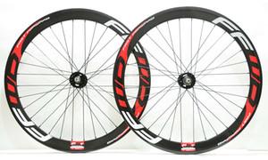 700C 50mm profundidad Track bicicleta ruedas de carbono fixed gear street 25mm ancho bicicleta clincher / ruedas tubulares de carbono llanta en forma de U con calcomanías FFWD