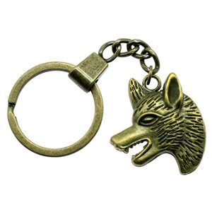 6 Pieces Key Chain Women Key Rings Fashion Keychains For Men Wolf Head 33x29mm