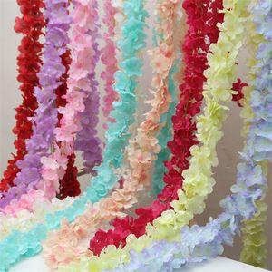 Flores artificiales románticas Boda Vine Hydangea Flores de seda Decoración de la pared Hanging Wisteria Garland Bride Bouquet Accessories 0 95tn YY