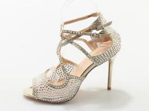 Bling Bling Sandalia de tacón alto adornada con pedrería Corte cruzado Sandalia de tiras Peep toe Tacones finos Vestido de fiesta Zapatos Mujer