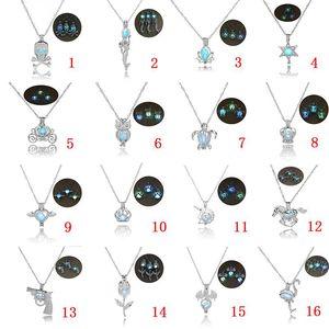 16 designs Luxus im dunkeln leuchten stein halskette Öffnen 3 farben leuchtende perlenkäfig anhänger halsketten Für frauen Damen Modeschmuck