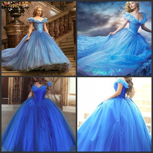 Cinderella Quinceanera Dresses 2019 New Romatic Sky Blue Off Shoulder Floral Long Organza Formal Ball Gown Prom Cosplay Dress