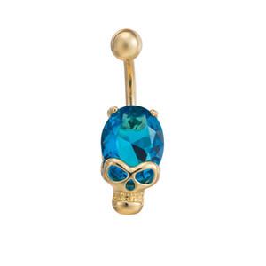 Золотой цвет Navel Bell Button Кольца Sexy пирсинг черепа тела ювелирные изделия CZ Кристалл мотаться живота пирсинг высокого качества