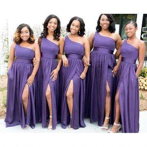 아프리카 2019 라인 보라색 신부 들러리 드레스 원형 섹시한 하이 사이드 스플릿 플러스 사이즈 파티 드레스 시폰 하녀의 명예 가운 BC0308