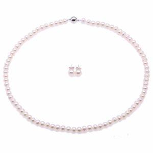 """Collier de perles de culture Akoya blanches 18 """"+ ensemble de boucles d'oreilles pour femmes Ensemble de bijoux Colar collier et boucle d'oreille ensemble"""