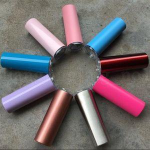 20 Unzen Edelstahl gerade Cup 14 Farben hohe dünne Tumbler 20 Unzen Vakuum-Isolations-Wasser-Becher mit Deckel Straw 12st OOA5718