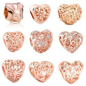 Envío libre MOQ 20pcs de oro rosa de bolas conejo árbol de la vida libélula amor apta del encanto original de Pandora pulsera brazalete de joyería de bricolaje J018