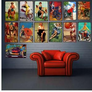 PIN UP GIRL 주석 도금 금속판 철 그림 거실 벽 바 커피 홈 아트 공예 장식 30X20CM DU-1186