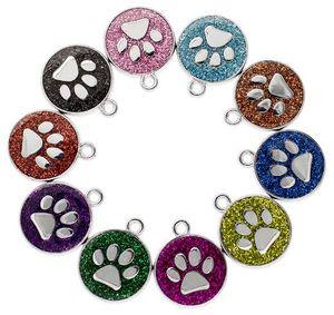 20 pçs / lote cores 18mm pegadas cat dog paw impressão pendurar encantos apto para diy chaveiros moda jóias