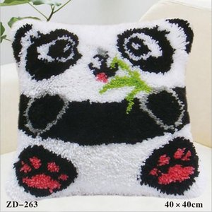 1 PC de Navidad almohada cubierta Xmas Ambience Square funda de almohada Holiday Fiber Inicio regalos de Navidad 40 * 40CM patrón de pandas