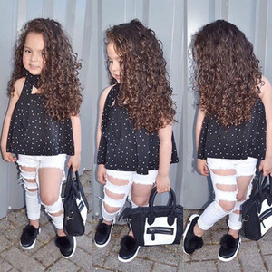 3 STÜCKE Kleinkind Baby Mädchen Kleidung sets Dot Schulterfrei T-Shirt Top + Zerrissene Jeans Hosen Kinder kleidung Outfits Set