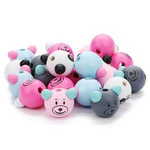 10pcs lot(about 55gram) Wooden Beads Lovely Panda Pig Shape Loose Beads For Home DIY Made Bracelet Pendent Best Gift For Kid Diameter 24mm